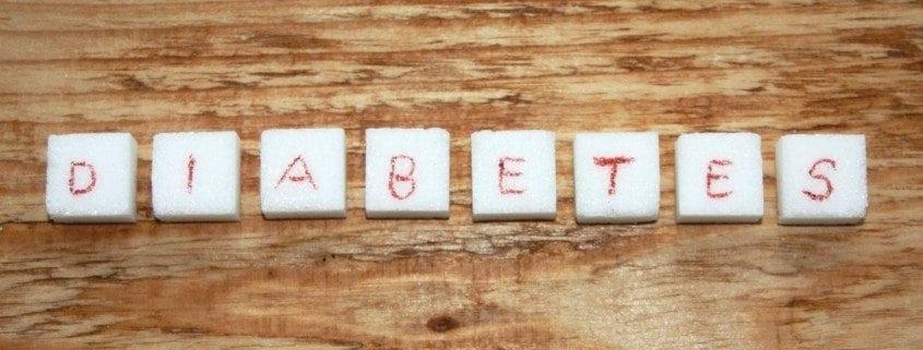 würfelzucker mit Wort Diabetes